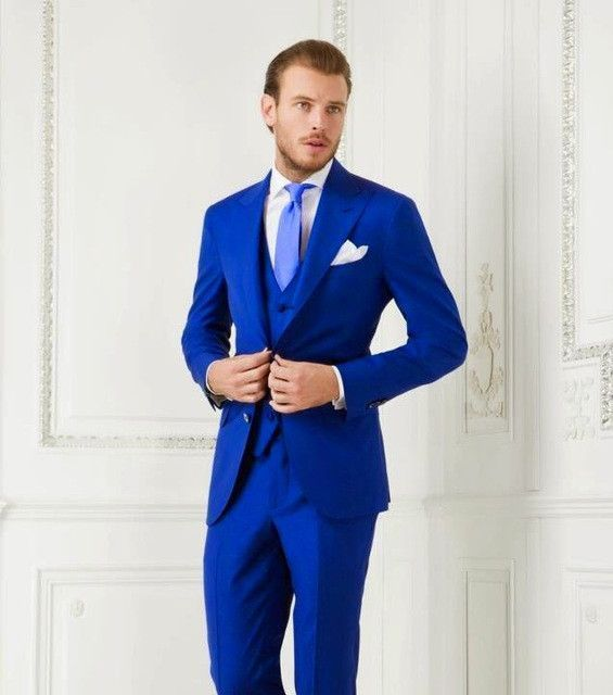 Handsome 2017 dark blue custom made wedding suits for men Groom ...