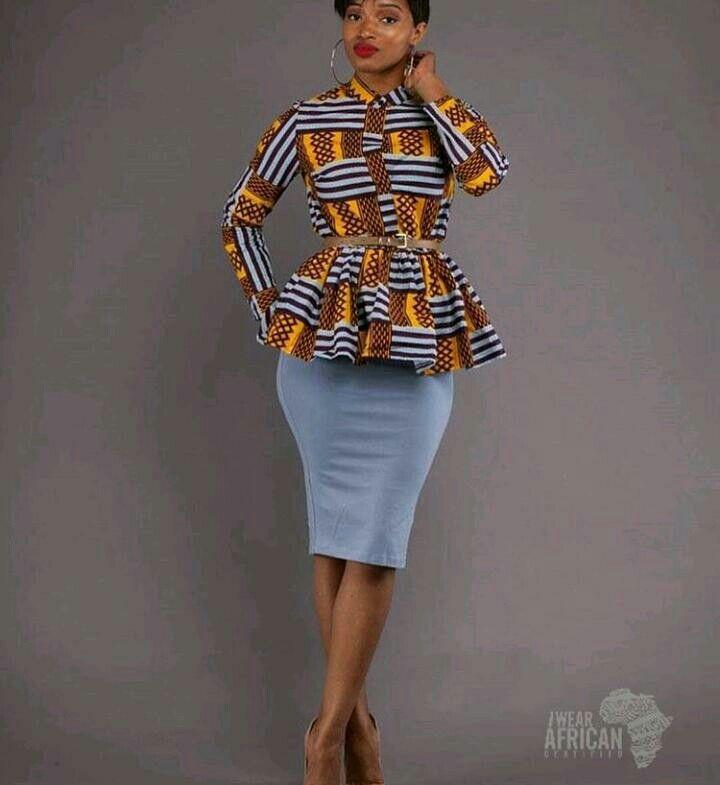292064d833 African long sleeve peplum top   African wear in 2019   African ...