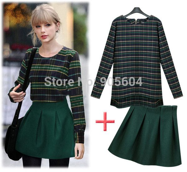 Find More Skirt Suits Information about 2014 Fashion European Style Women Plaid Long Sleeve O Neck Shirt+High Waist Fluffy Skirt Ladies Casual Two pieces Suits ZY381,High Quality shirts retail,China shirt rivet Suppliers, Cheap shirt wholesale from Biovan_china's store on Aliexpress.com
