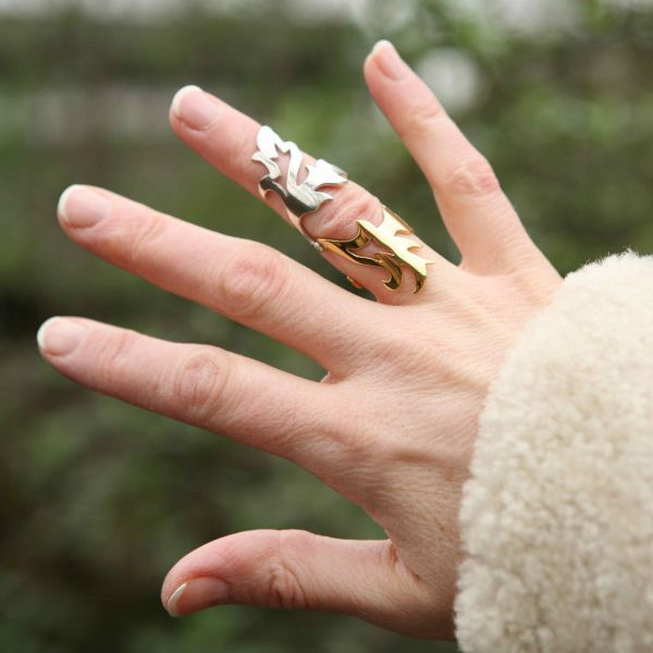 Filigree double knuckle ring - silver/yellow gold