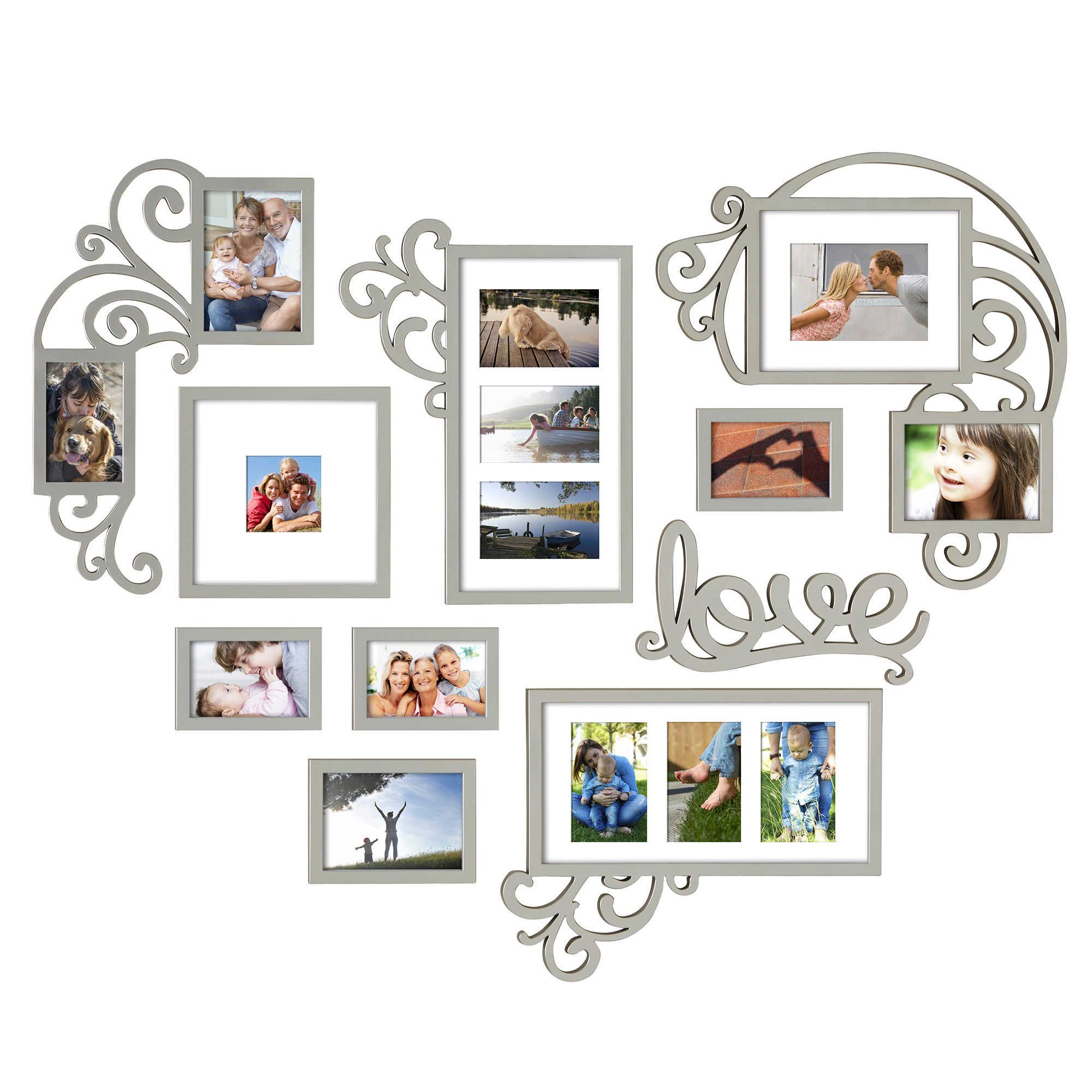 Wallverbs 10 Piece Heart Love Scroll Photo Frame Set In Silver