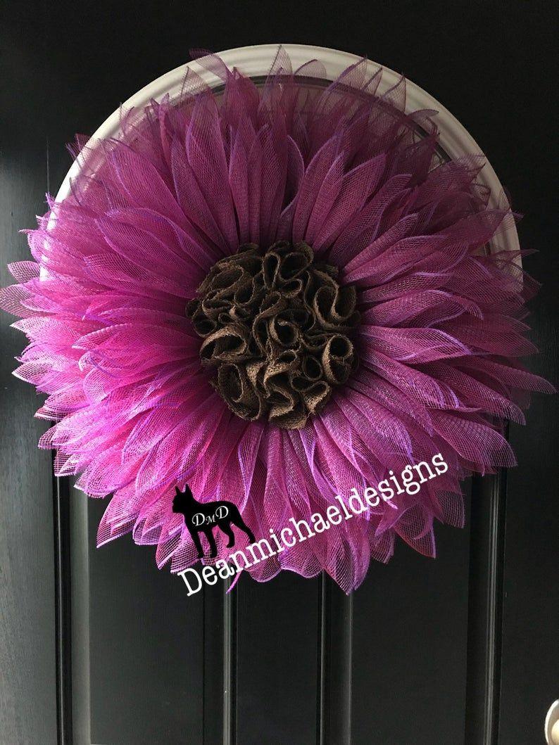 Photo of Spring wreaths for front door, sunflower wreath, burlap wreath, flower door hanger, spring wreath, summer door wreath, front door wreaths.