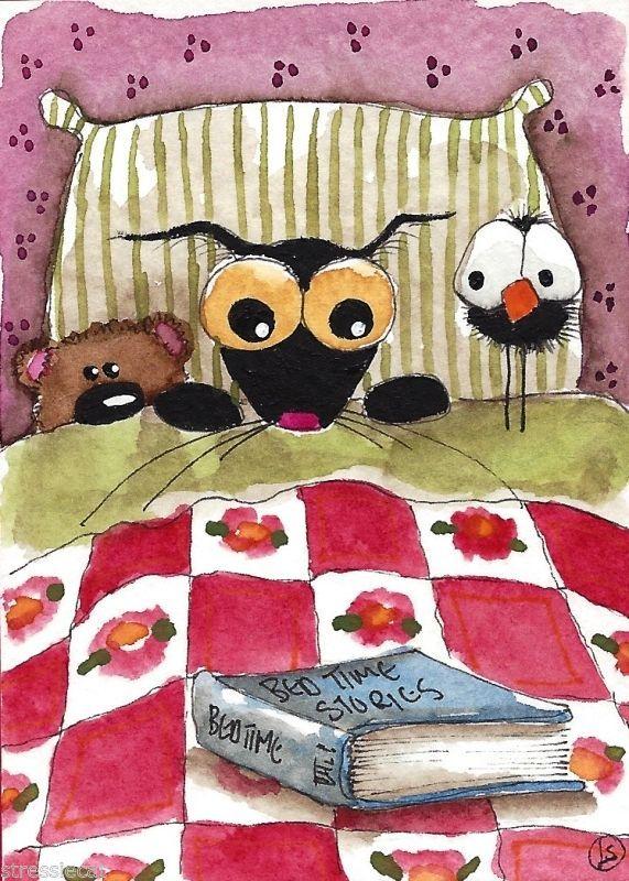 ACEO Original watercolor Folk Art painting black Stressie cat book crow teddy