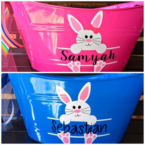 Personalized Bunny Tubs - Easter Basket - Bunny Basket - Best Easter Basket - Easter Egg Hunt -  Perfect plastic oval shaped bucket to hold all the goodies from the Easter bunny!! Also can be used - #Basket #Bunny #Easter #Easterbasketideas #Eastercrafts #Easterdecorations #Easterdessert #Easterdinner #Easterfood #Easterjesus #Easterquotes #Easterrabbit #egg #Hunt #personalized #Tubs