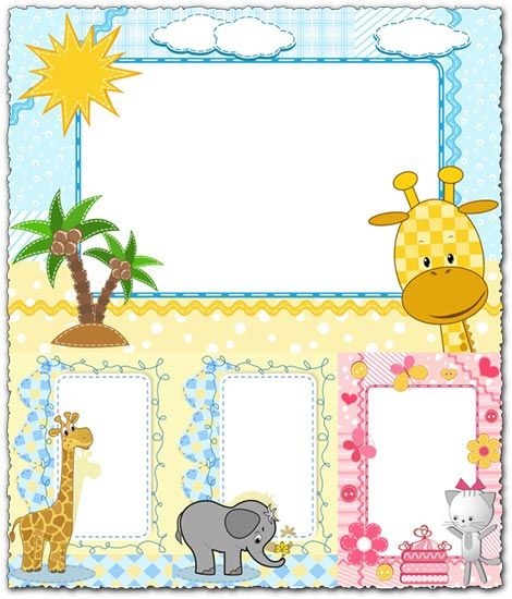 Cartoon frames with baby animals vectors | diplome | Pinterest ...
