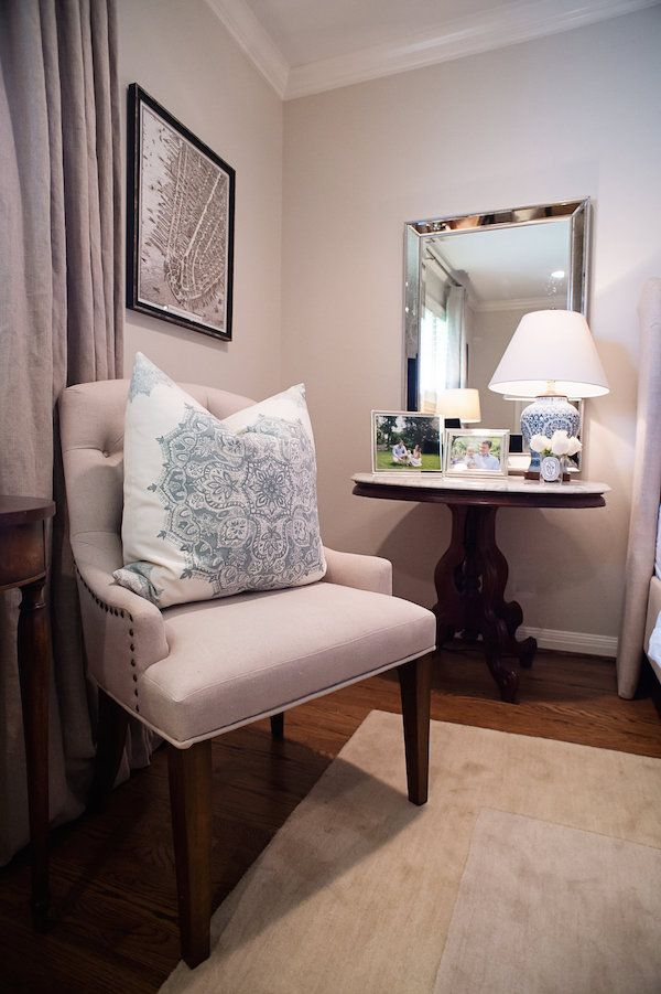 Good A Beautiful Master Bedroom With An Antique Marble Top Accent Table And  Tufted Accent Chair