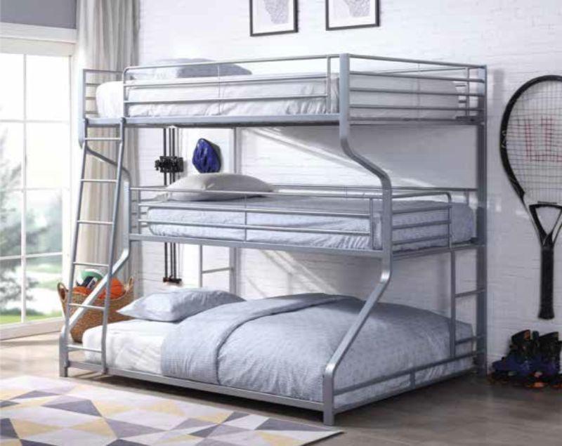 Acme 37790 Caius Ii Silver Finish Metal Triple Bunk Bed Set Twin
