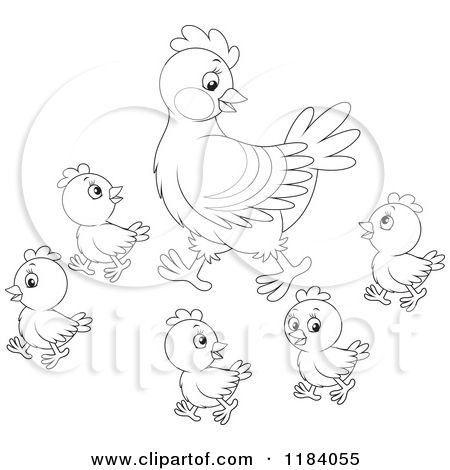 1184055 Cartoon Of An Outlined Mother Hen And Baby Chicks Royalty