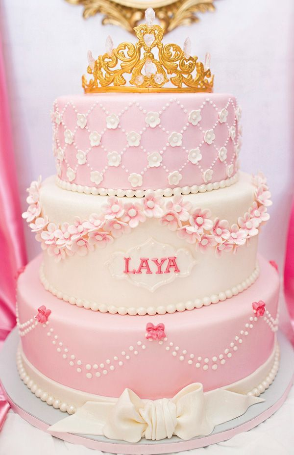 Royal Princess First Birthday Party Pink Gold Birthday cakes