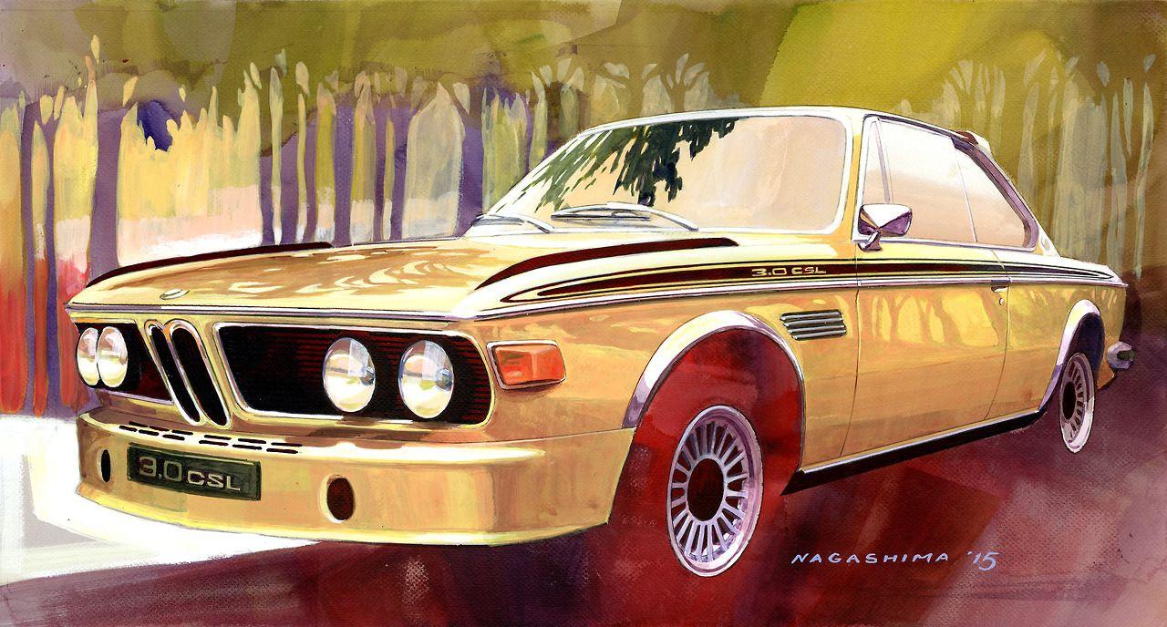 BMW 3.0 CSL (E9), 1972, the original CSL - art by Joji Nagashima