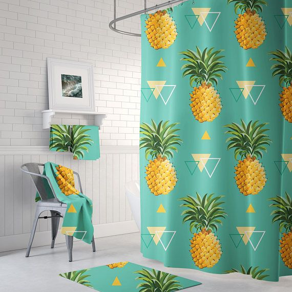 Pineapple Shower Curtain Tropical Shower Curtain Bathroom | Shower ...