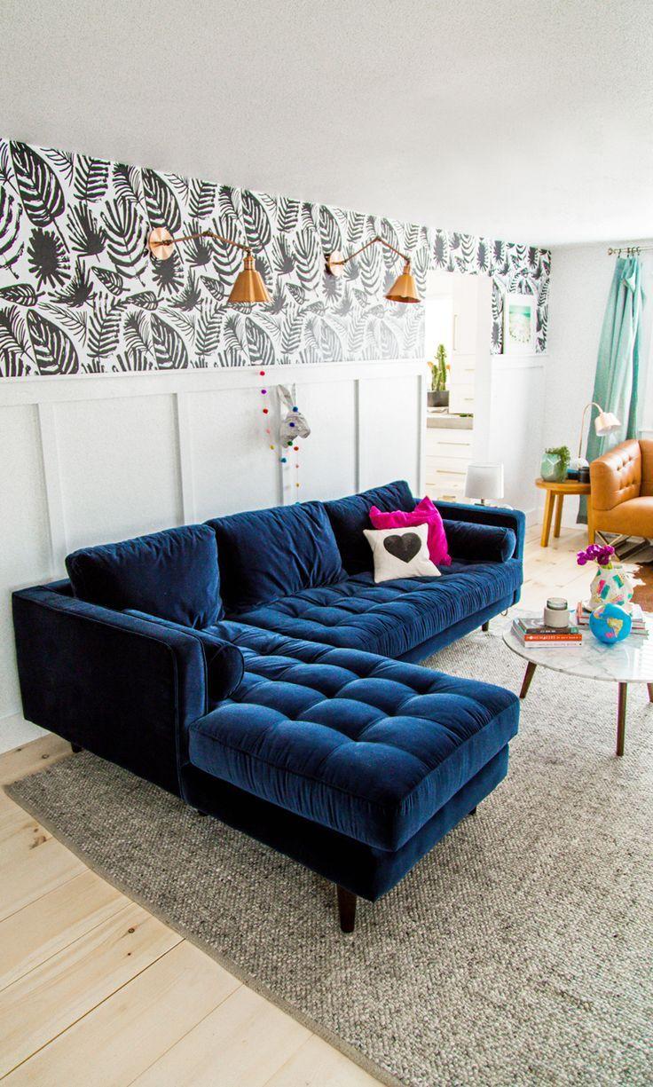 Our Living Room Reveal Blue Sofa Living Blue Sofas Living Room Blue Couch Living Room