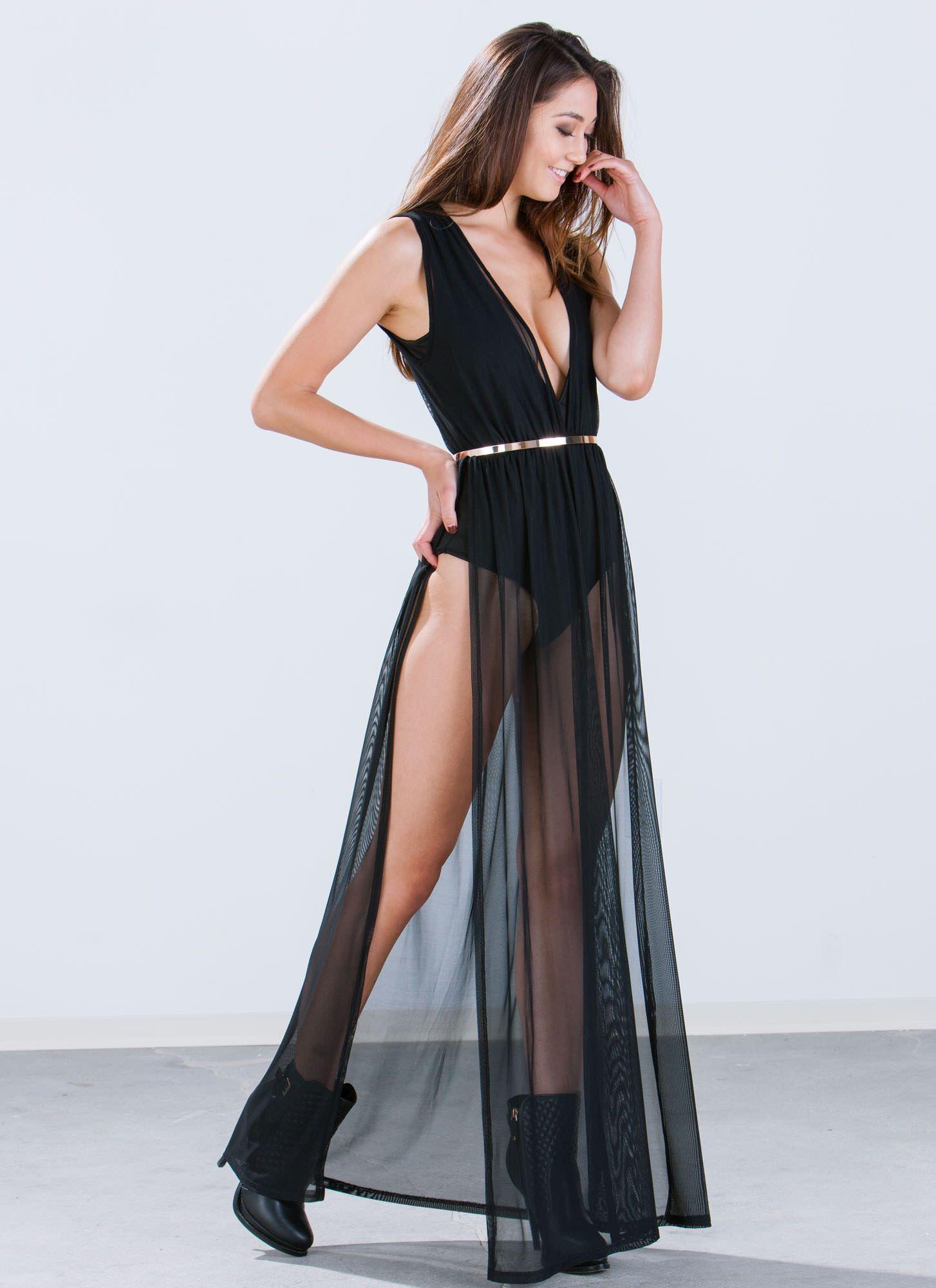 Multitask Bodysuit Mesh Maxi Dress Black Nude Ivory Gojane
