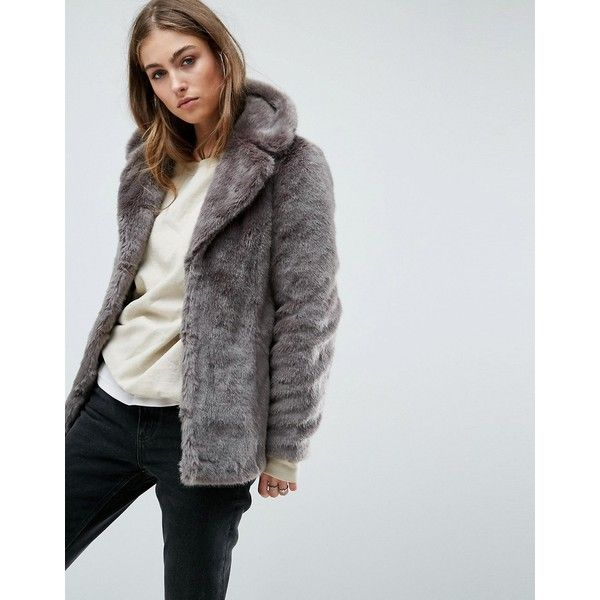 Unreal Fur Faux Real Jacket (€130) ❤ liked on Polyvore featuring outerwear, jackets, grey, grey faux fur jacket, gray faux fur jacket, faux-leather jackets, gray jacket and grey jacket