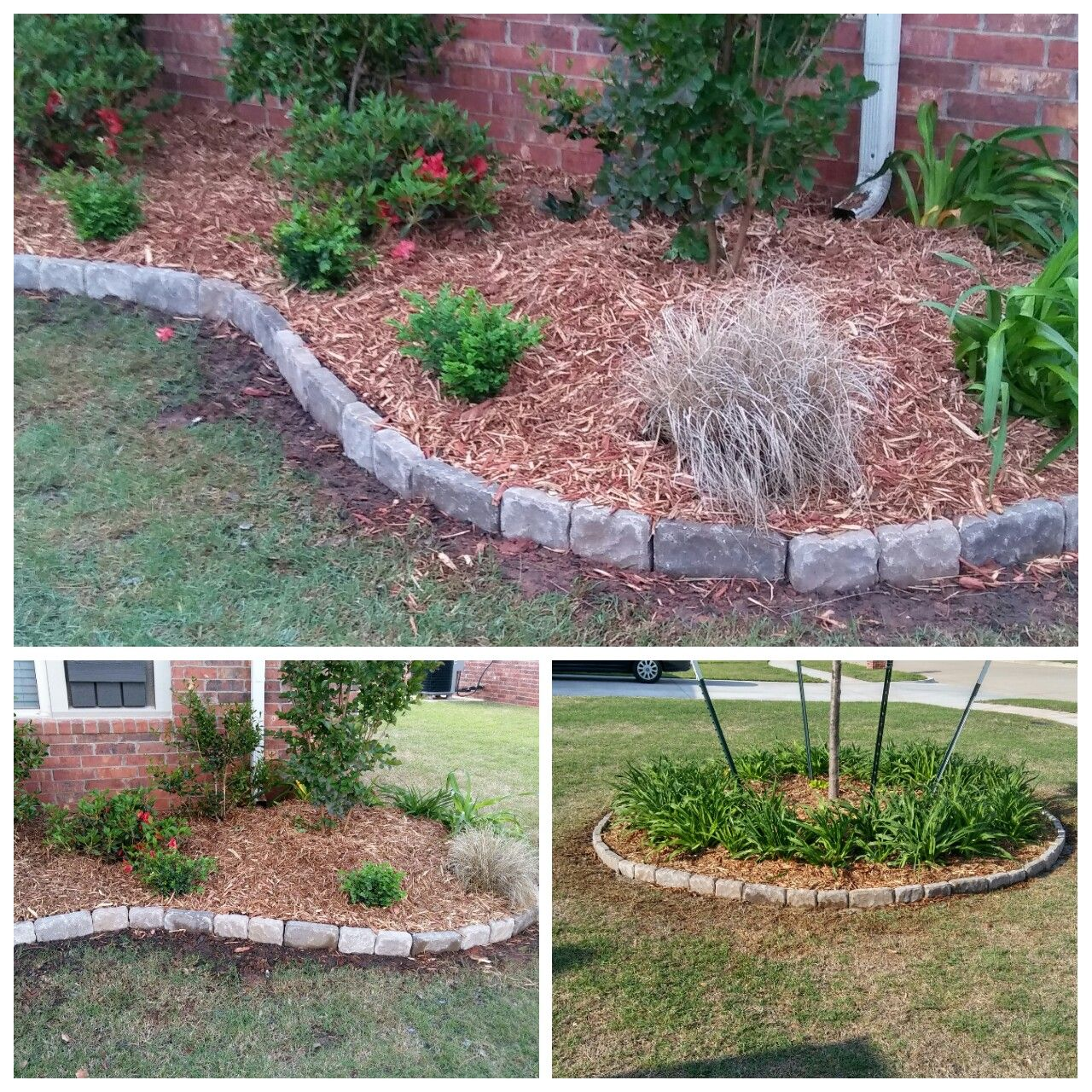 Paver flowerbed border. Inexpensive! Did both flowerbeds