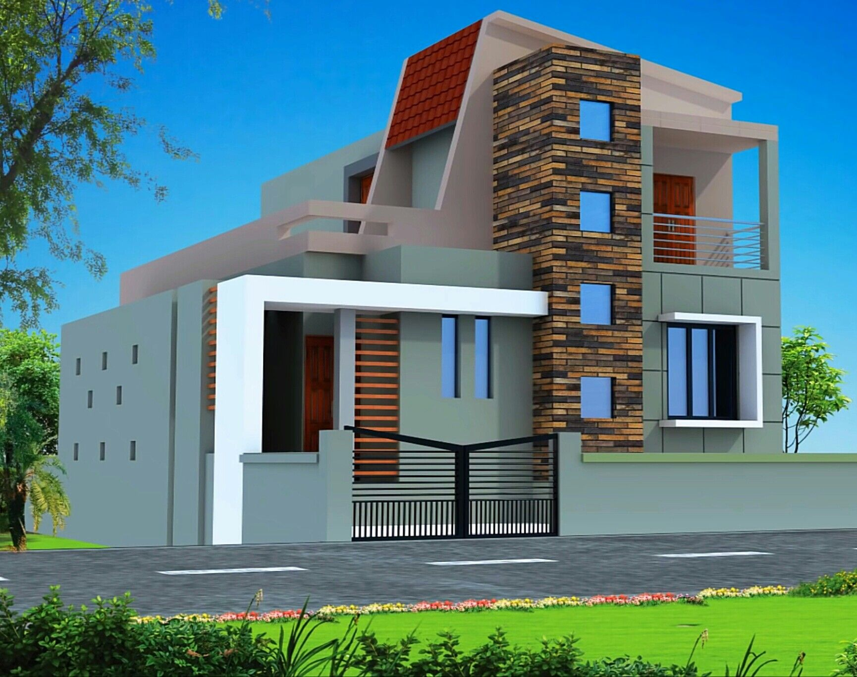 Flat roof house elevation compact villa home mansion also kanal houses design in pakistan rh pinterest