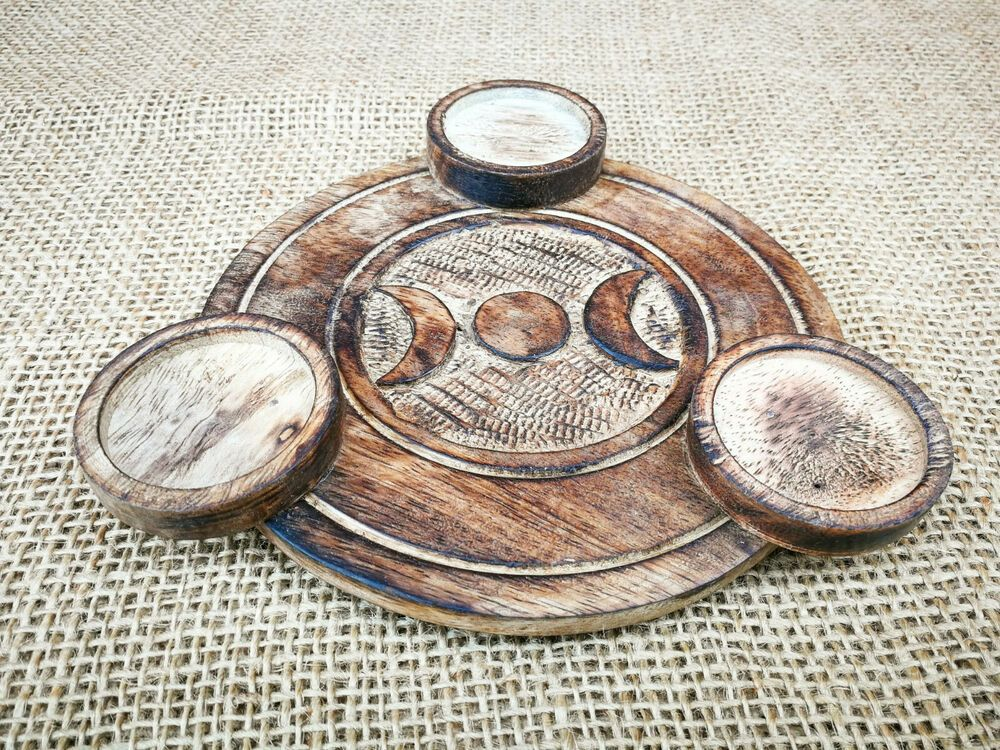 Round Mango Wood Tealights Candle Holder With Hand Carved Pagan