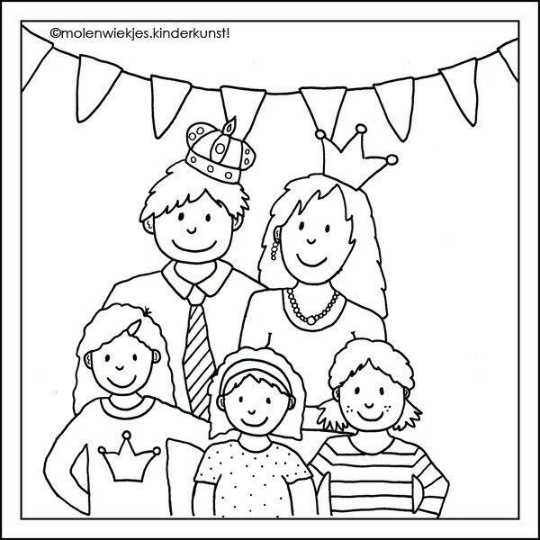 kleurplaat koninklijk gezin kleurplaten thema