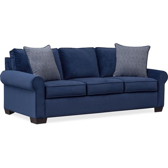 Blake Queen Memory Foam Sleeper Sofa Indigo Value City Furniture And Mattresses