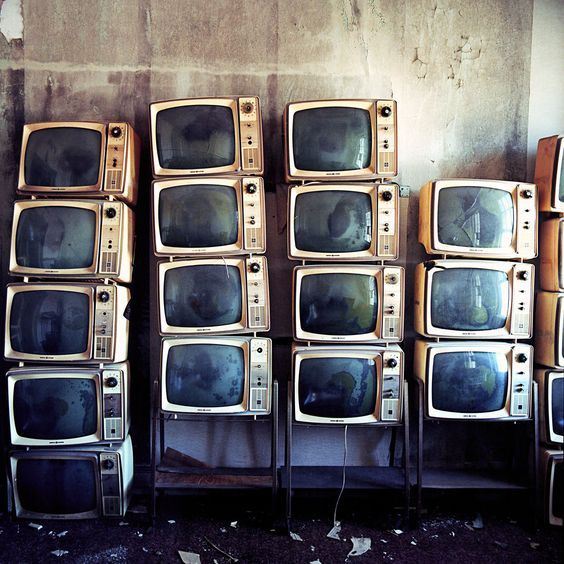 Stacked TV Sets In The Abandoned Thomas Jefferson Hotel