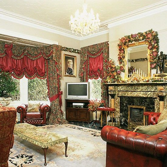 Grand living room with decorative red curtains | Living room ...