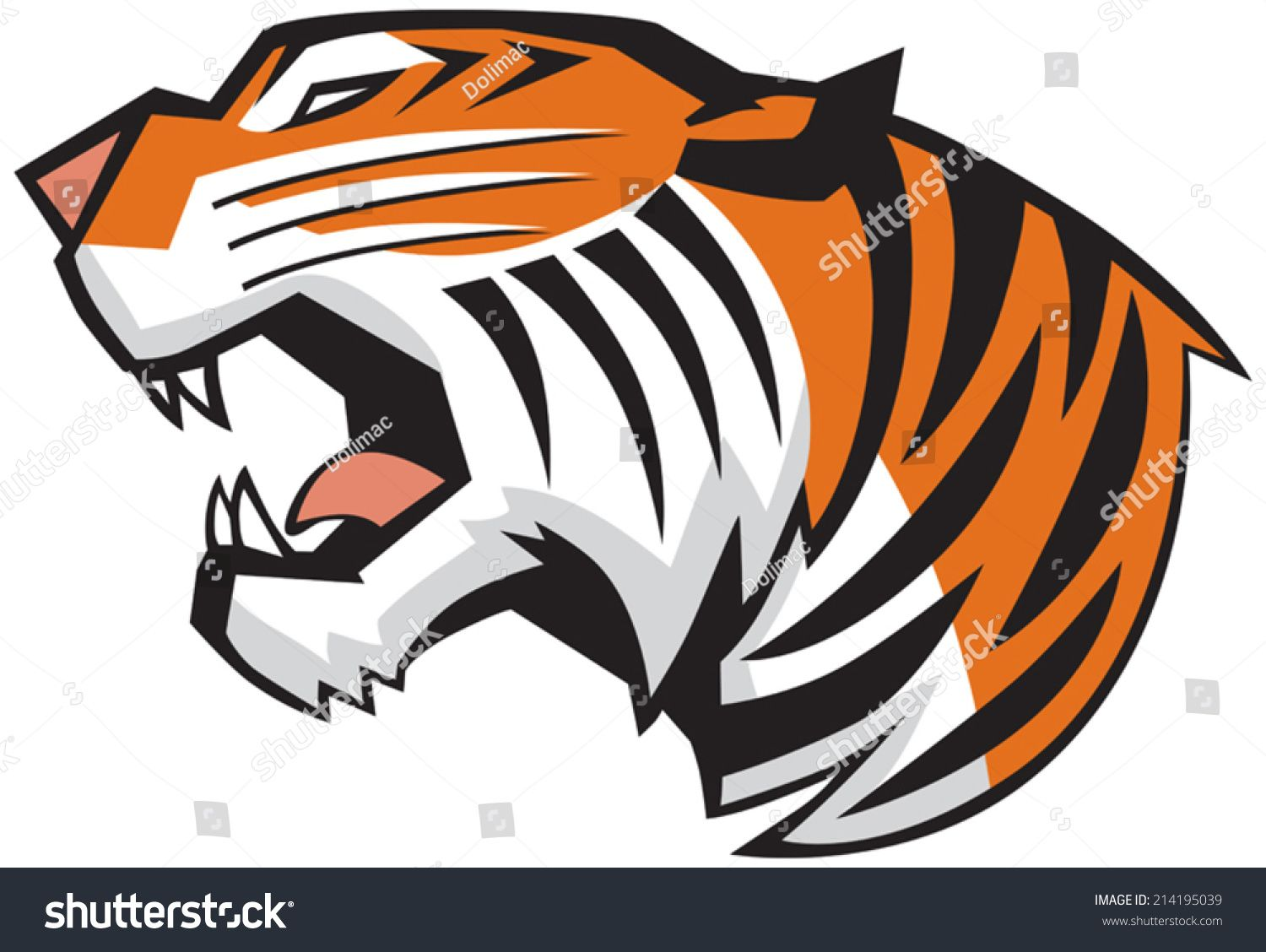 Vector Cartoon Clip Art Illustration Of A Roaring Tiger Head In A Side View Rendered In A Graphic Style Cartoon Clip Art Tiger Illustration Illustration Art