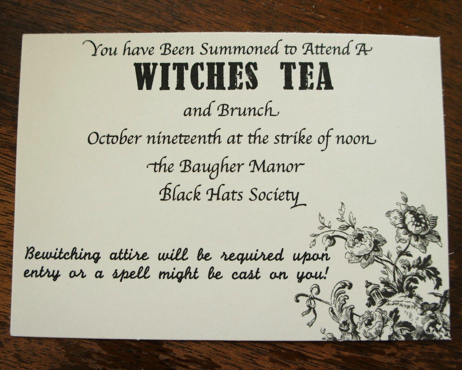 Witches tea party decor and invitation inspiration | Invitation ...