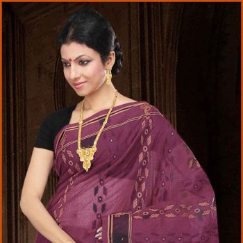 Dark Purple Bengal Handloom Cotton Tant Saree With Blouse Online Shopping: SPN749 Perfect plum color!