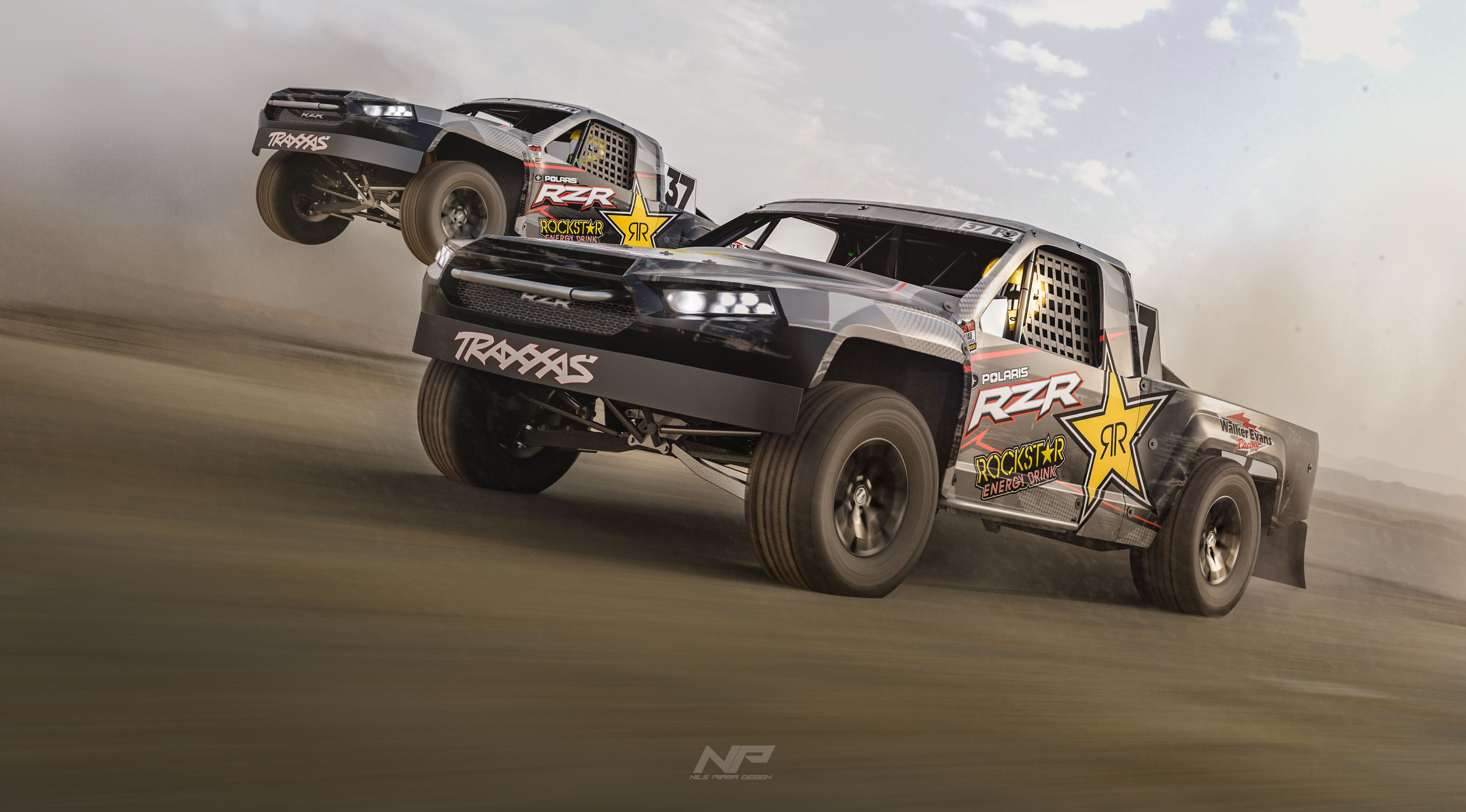 Traxxas Trophy Trucks Racing In The Desert Rendered In Keyshot By Nils Piirma Trophy Truck Trucks Racing