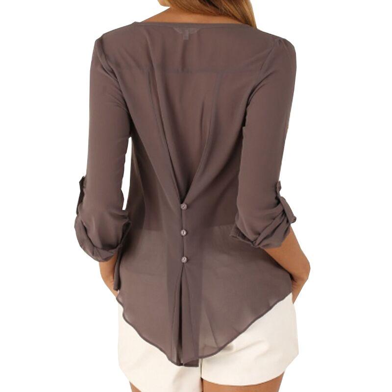 여성 2016 새로운 여름 캐주얼 쉬폰 블라우스 섹시한 V 넥 긴 소매 셔츠 여성 플러스 사이즈 탑 feminina camisas 1WBL110