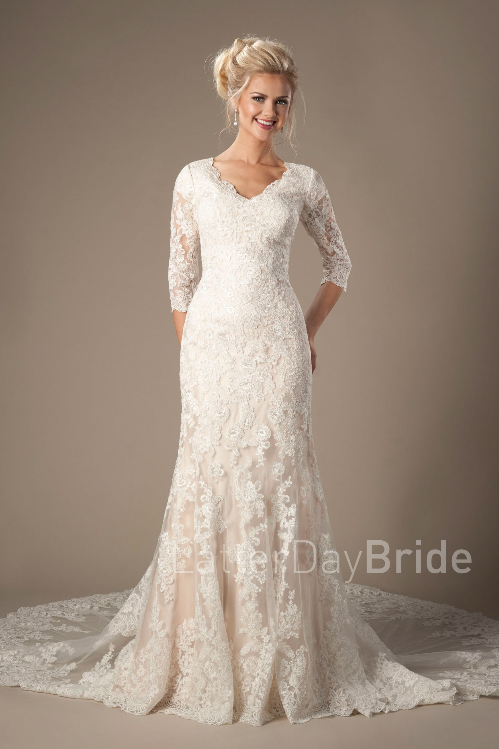 Romero modest lace wedding dress lace sleeves lds bride romero junglespirit Choice Image