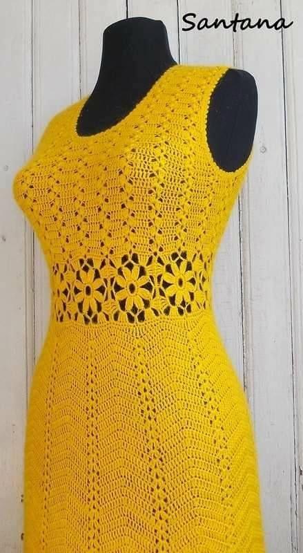 Vestido Amarillo A Ganchillo Vestidos Crochet Modelli