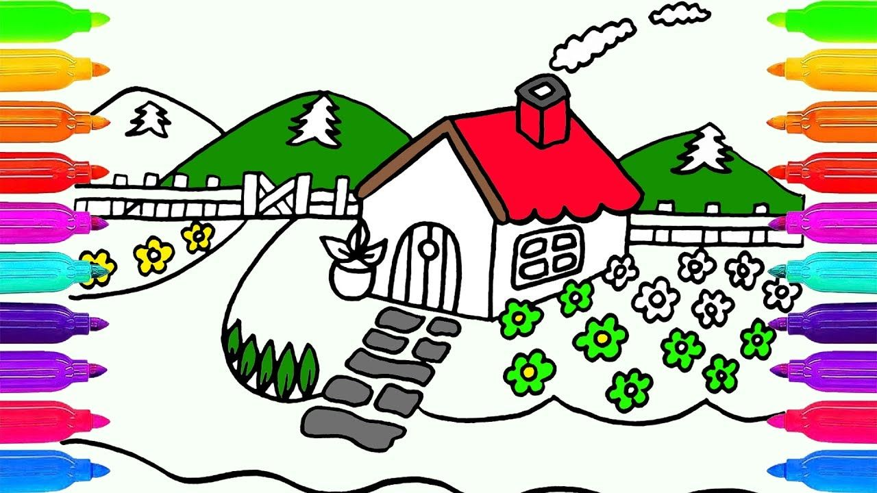 Dibujar Y Colorear Una Casa Y El Jardin Dibujos Para Ninos How To Draw Dibujos De Colores Jardin De Ninos Dibujos Para Ninos