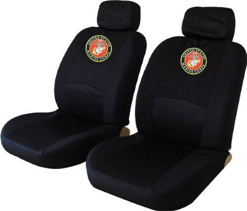 United States Marine Corps Usmc Low Back Seat Cover 2 Front Low Back Encore Seat Covers In Black Custom Embroidered Us Back Seat Covers Seat Covers Seat Cover