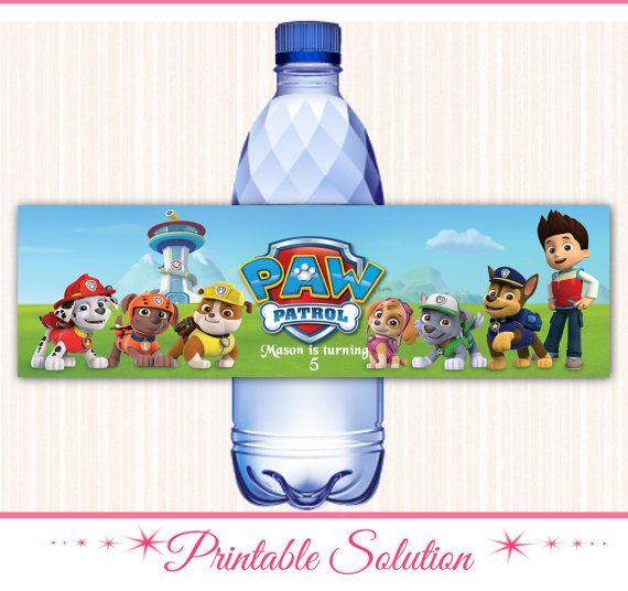 paw patrol water bottle label paw patrol by printablesolution fiesta santi pinterest. Black Bedroom Furniture Sets. Home Design Ideas