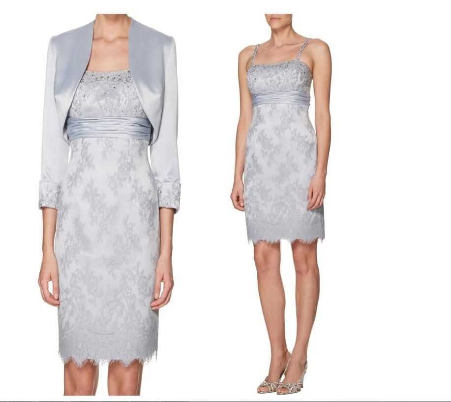 Charming Grey 2016 Mother Of The Bride Dress Lace Jacket Sheath Short Mother'S…
