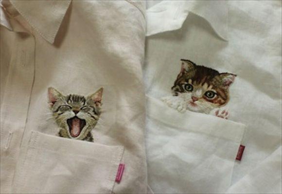 Hand-embroidered Linen Cat Shirt in White | Hiroko Kubota | www.etsy.com
