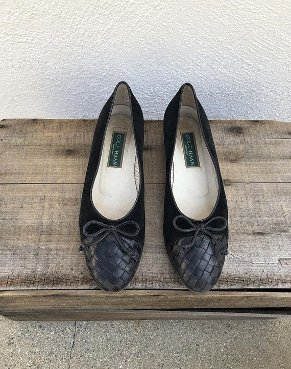 c2dd822f83416 90s Woven Leather Ballet Flats Black Leather Suede Cole Haan Flats ...