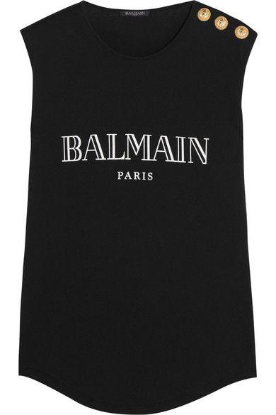 BALMAIN Embellished Printed Cotton-Jersey Top. #balmain #cloth #tops