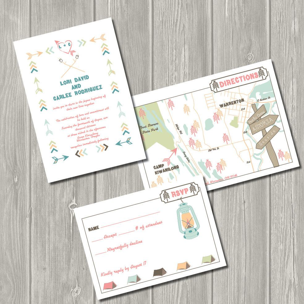 Vintage Summer Camp - Printable Wedding Invitation, Map, & RSVP ...