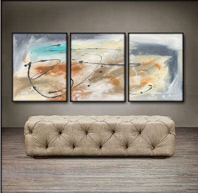 Abstract View 48 X 20 Original Paintings . Free by Genistudio