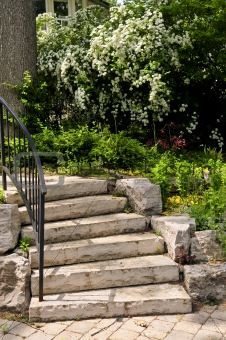 Natural Stone Steps Right Outside Back Door Going Down To The Next