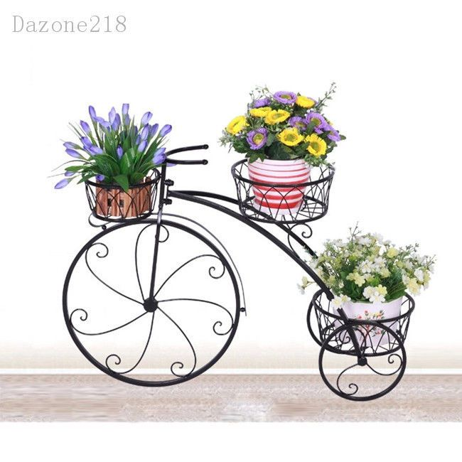 3 Tier Black Wrought Iron Bicycle Pot Plant Stand Home Garden