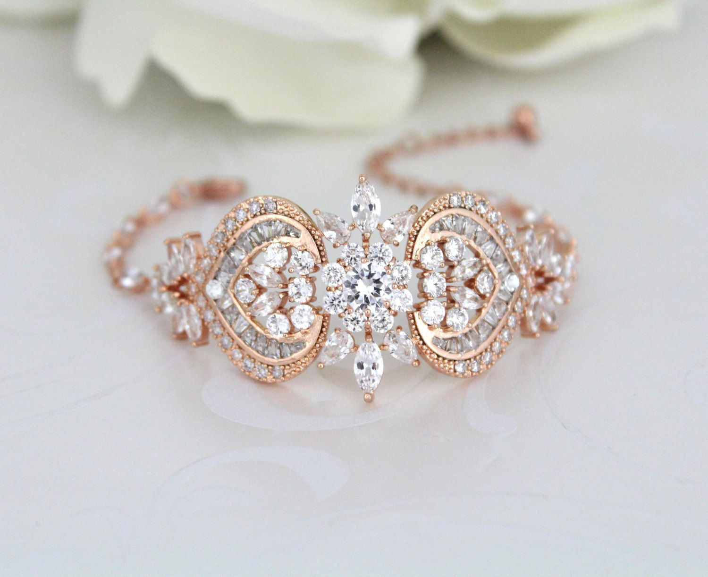 Rose gold bridal bracelet crystal wedding bracelet wedding jewelry