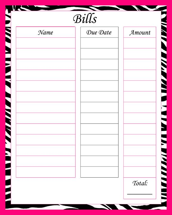 images printable monthly bill tracking portal printable monthly bill ...