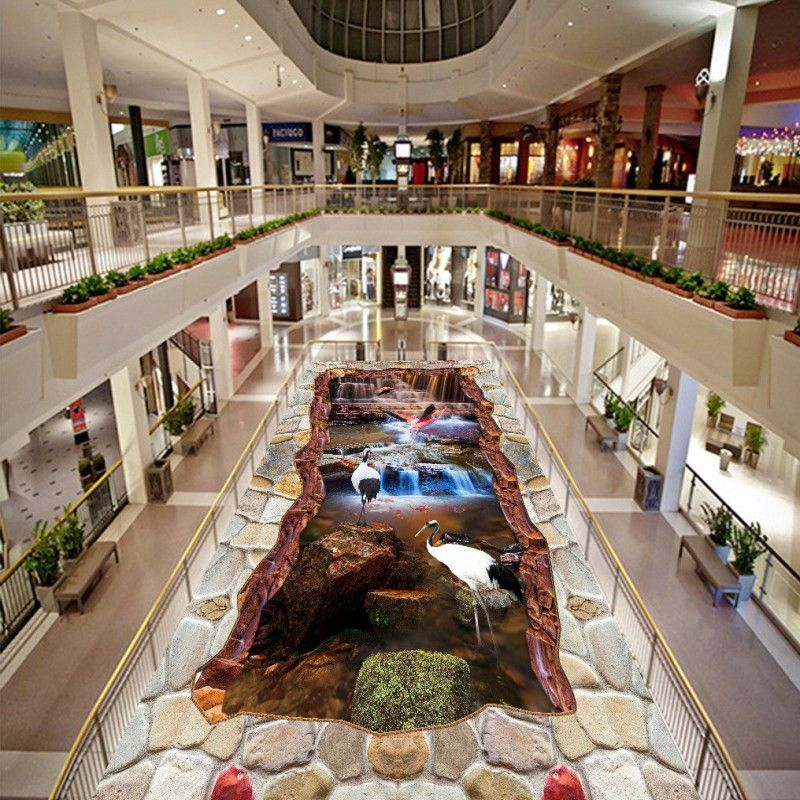 Free Shipping Creek Waterfall 3D Flooring Wallpaper Living Room Study  Office Shopping Mall Floor Photo Mural