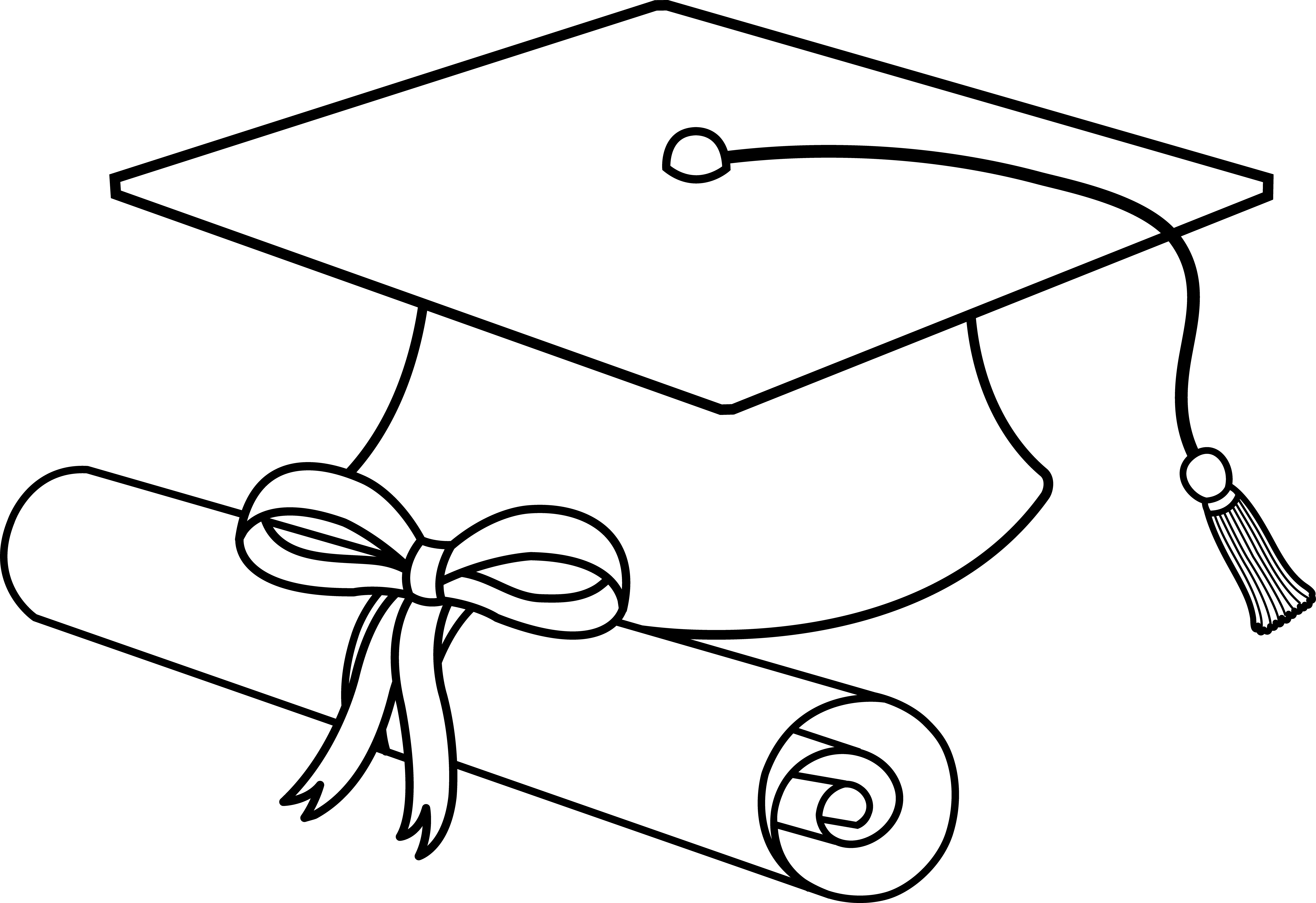 Flying Graduation Caps Clip Art | Graduation Cap Line Art ...