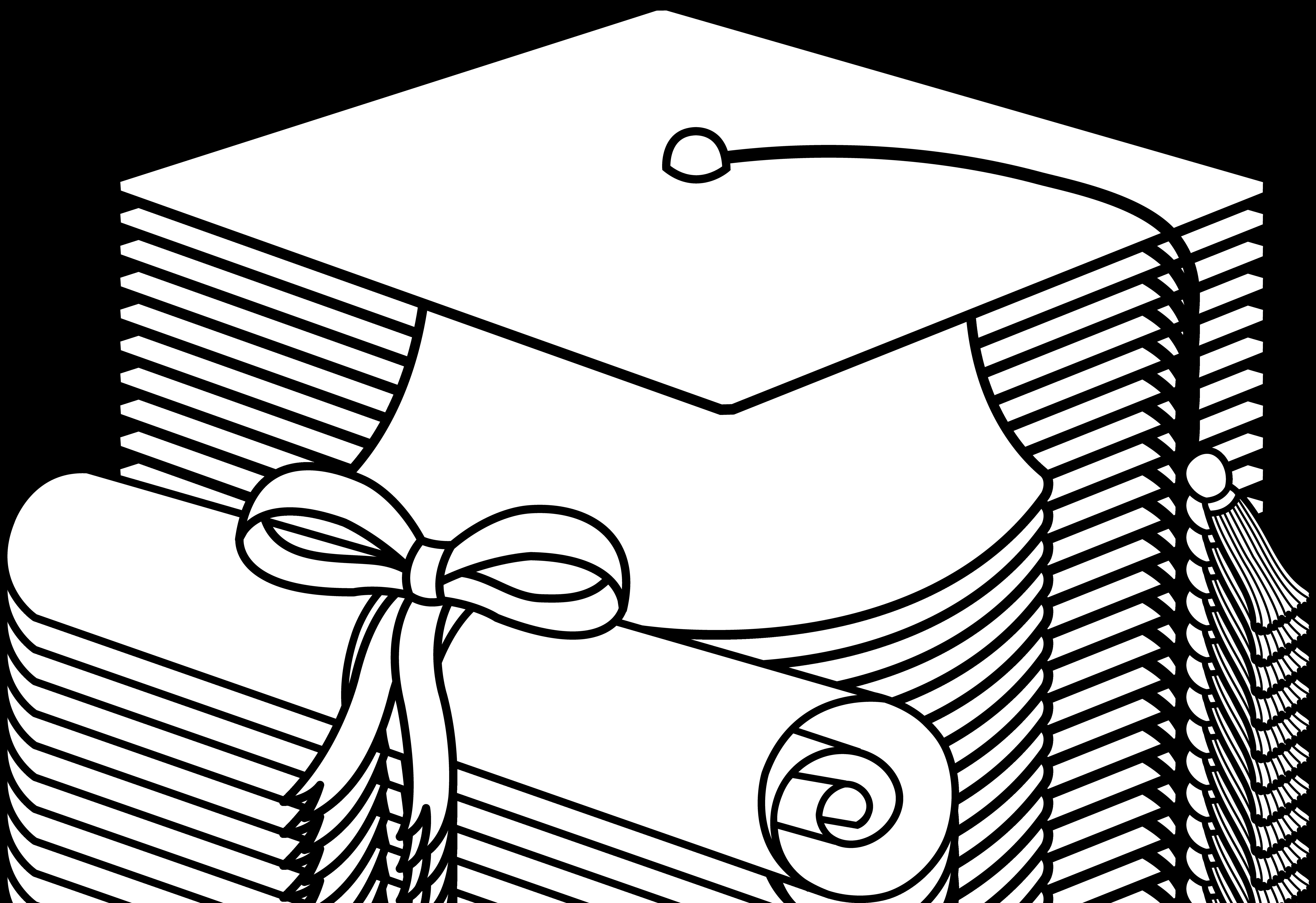Flying Graduation Caps Clip Art Graduation Cap Line Art