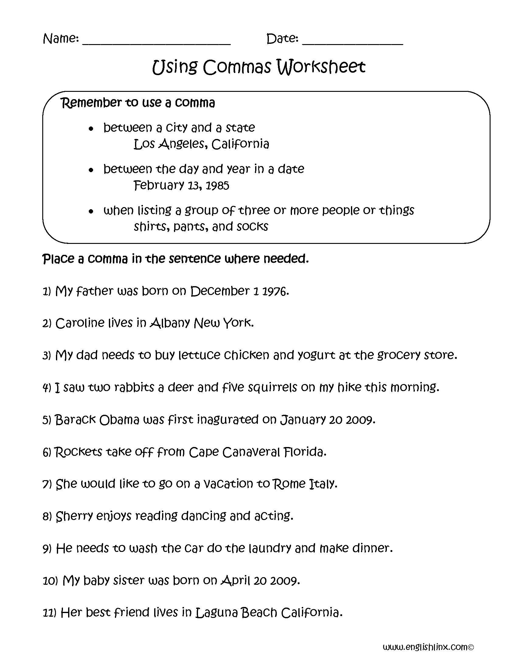 Commas Worksheets   Middle school grammar worksheets [ 2200 x 1700 Pixel ]