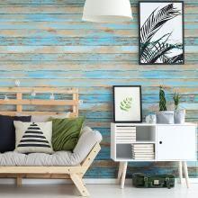 Sticker papier peint bois vintage bleu